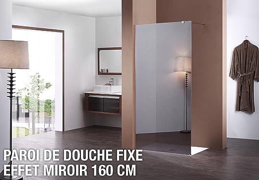 Mampara de ducha fija espejo 160 cm: Amazon.es: Hogar