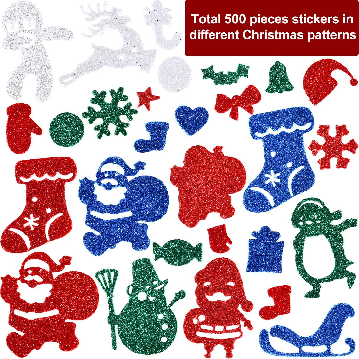 500Pcs Glitter Foam Stickers Self Adhesive Xmas Theme Shapes Stickers Christmas DIY Crafts Stickers for Christmas Party Decoration Classroom DIY Crafts Supplies KATUMO Christmas Foam Stickers