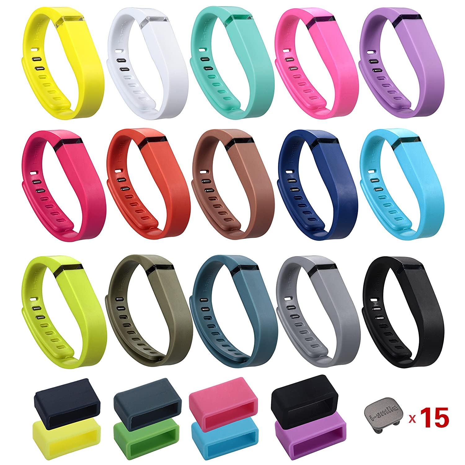I-SMILE 15PCS Replacement Bands with Metal Clasps for Fitbit Flex Wireless Activity Bracelet Sport Wristband No Tracker, Replacement Bands Only