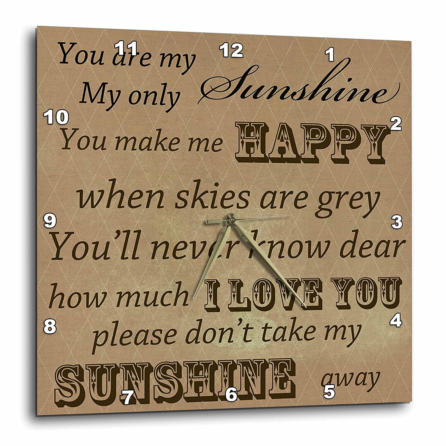 13 by 13-Inch 3dRose dpp/_79152/_2 You are My Sunshine in Brown Word Art Vintage Song Wall Clock