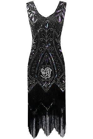 ArtiDeco 1920s Kleid Damen Retro 20er Jahre Stil Flapper Kleider mit Fransen  V Ausschnitt Gatsby Motto Party Kleider Damen Kostüm Kleid  Amazon.de  ... 117869d885