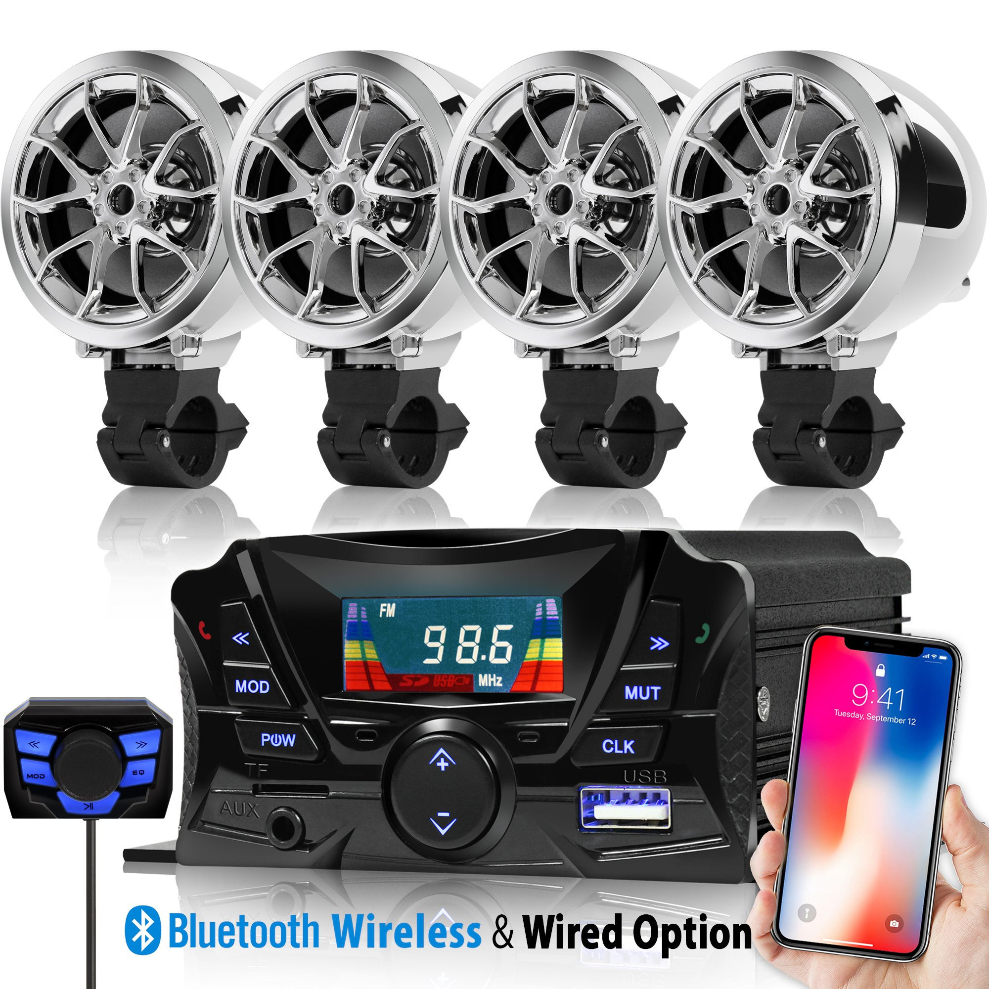 GoldenHawk USA 3'' Motorcycle Waterproof Bluetooth Wireless Speaker 7/8-1 in. Handlebar Mount MP3 Music Player Sound Audio Stereo Amplifier System ATV UTV w/3.5mm AUX IN, USB 2.0, micro SD, FM Radio
