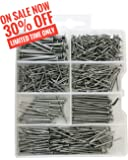 Qualihome Hardware Nail Assortment Kit, Includes Finish, Wire, Common, Brad and Picture Hanging Nails