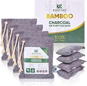 Bamboo Charcoal Air Purifying Bag - Natural Air Purifiers and Deodorizers - Activated Charcoal Bags for Odor Absorber - Kid and Pet-Friendly Charcoal Bags for Home, Car or Office - 8 Packs