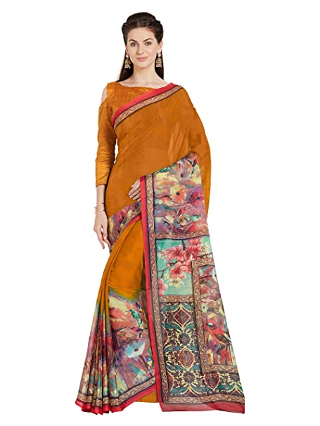 Amazon.com: Mirchi moda mujer arte seda impresas saree ...