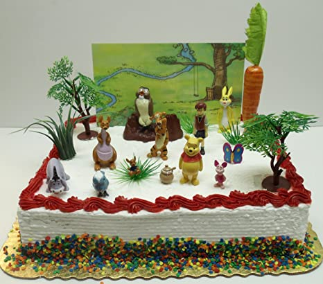 Winnie The Pooh 16 Piece Birthday Cake Topper Set Featuring 2quot Figures Of Eeyore