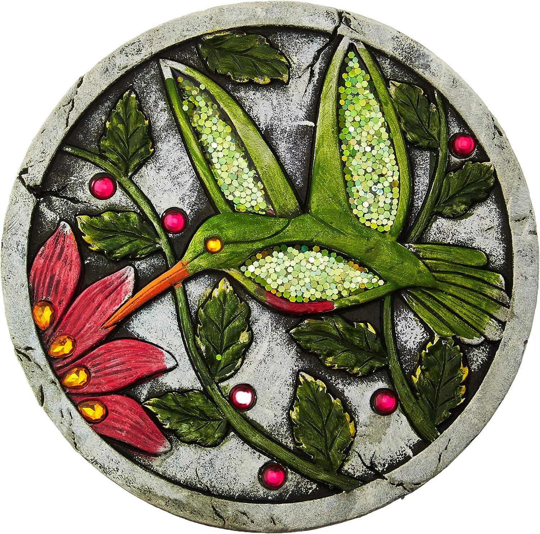 Summerfield Terrace 10018537 Green Hummingbird Garden Stepping Stone, Multicolor