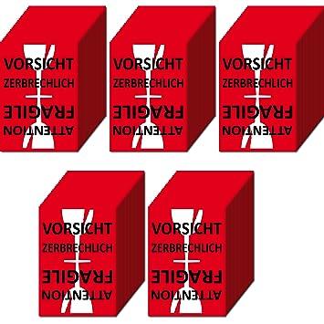 Aufkleber Sticker Etiketten Label Vorsicht Glas Zerbrechlich Attention Fragile Versand Umzug Paket 500