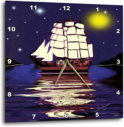 3dRose DPP_6675_3 A Nautical Dream-SmudgeArt Ship Art-Wall Clock, 15 by 15-Inch