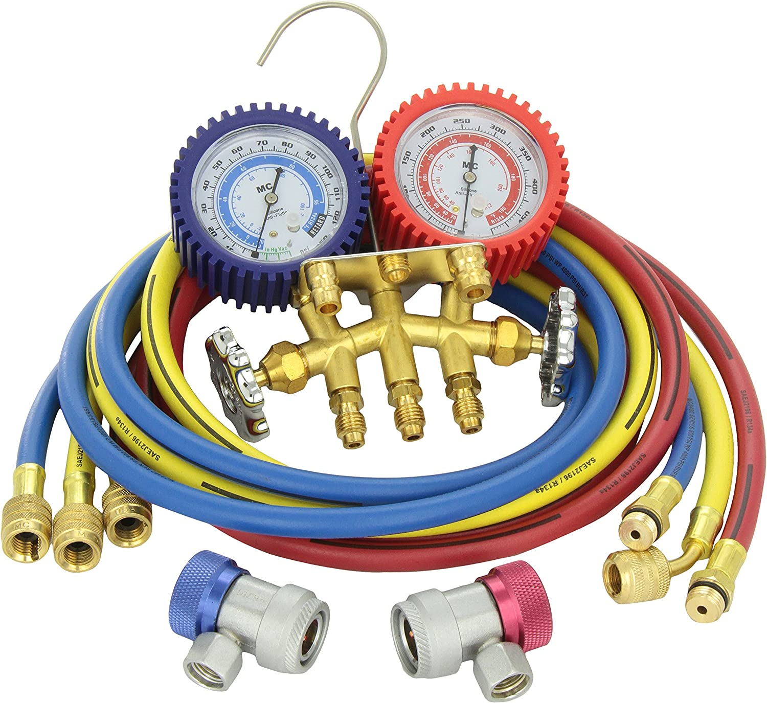 Hoses MASTERCOOL 84772G Brass R134A 2 Way Manifold Gauge Set with 72in
