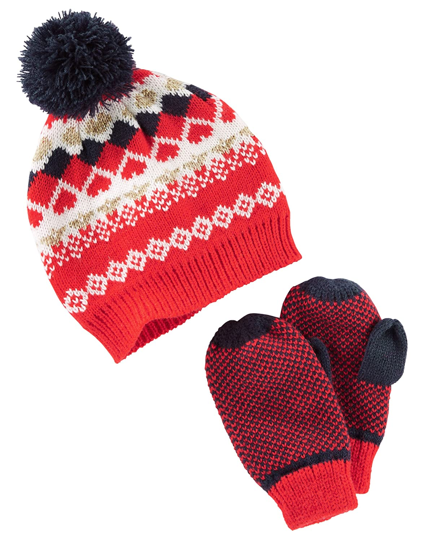 OshKosh BGosh Boys Hat and Mitten Set Red Fair Isle 7-14
