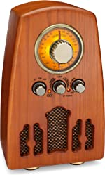 ClearClick Vintage Style AM/FM Radio with Bluetooth - Handmade Wooden Exterior