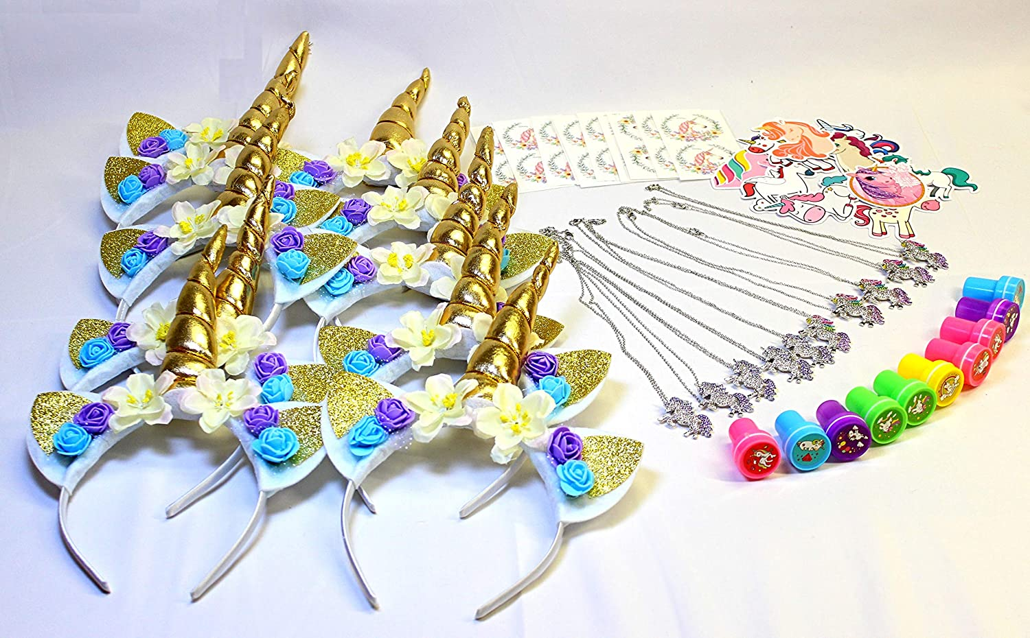 Premium Unicorn Party Favors for 10 Guests Unicorn Headband Unicorn Necklace Good Goody Goods Tattoo and More