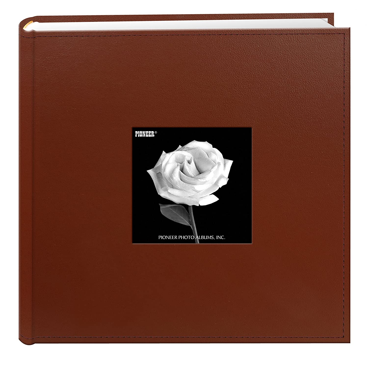 Pioneer Photo Albums 200-Pocket Sewn Leatherette Frame Cover Photo Album, 4 by 6-Inch, Brown DA-200SF/BN