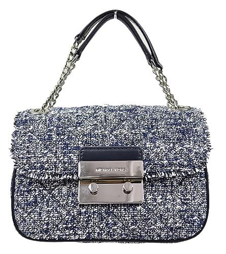 df5f752bbf34c MICHAEL Michael Kors Michael Kors Women s Sloan Boucle Tweed Quilted Small Shoulder  Bag Admial Navy  Amazon.in  Shoes   Handbags