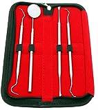 CANDURE® - Set of 4 Pieces Dental - Tartar Calculus Plaque Remover Tooth Scraper- Dental Mirror & Scaler Set - comes in Black Kit