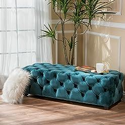 Provence Dark Teal Tufted Velvet Fabric Rectangle Ottoman Bench