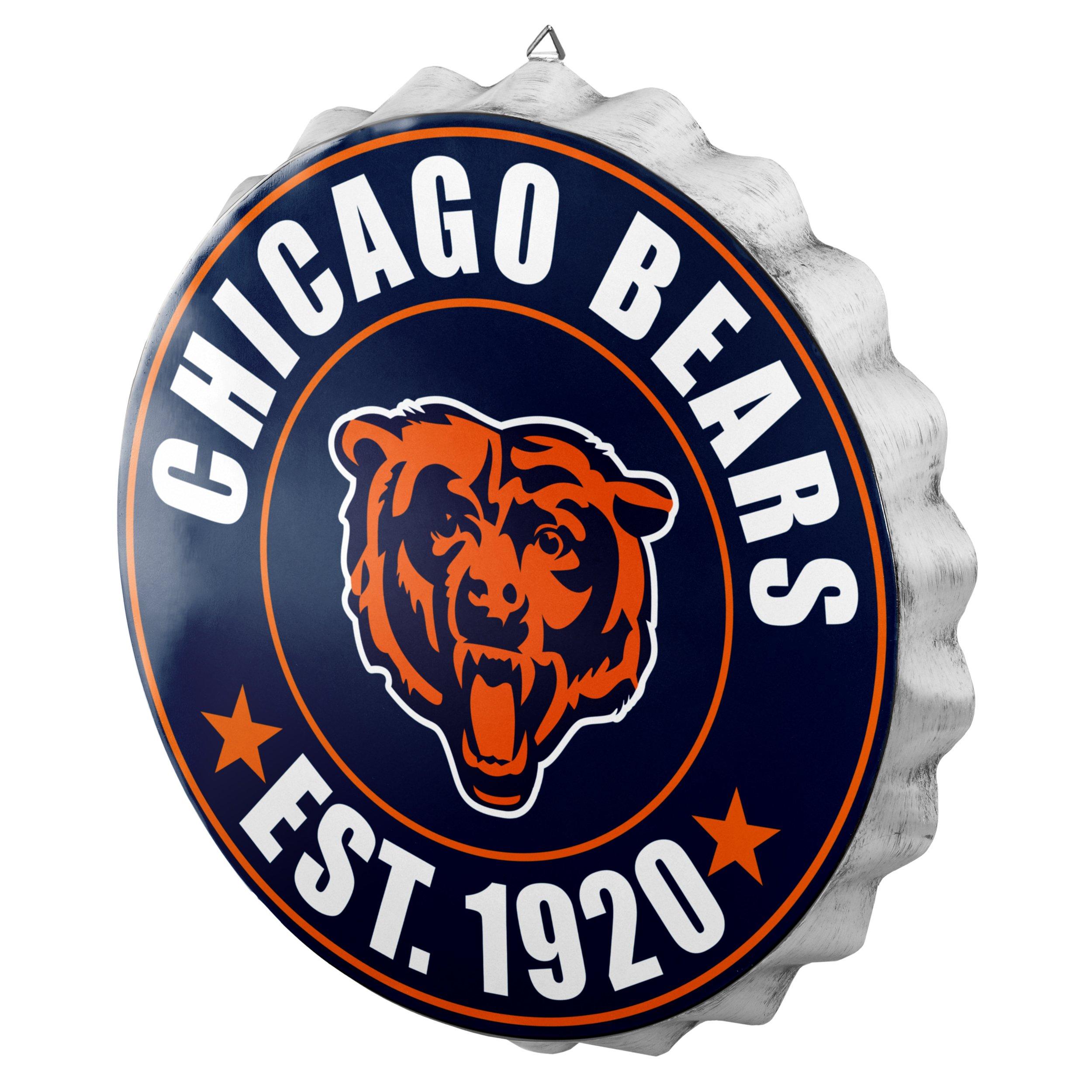 Chicago Bears NFL Bottle Cap Wall Sign