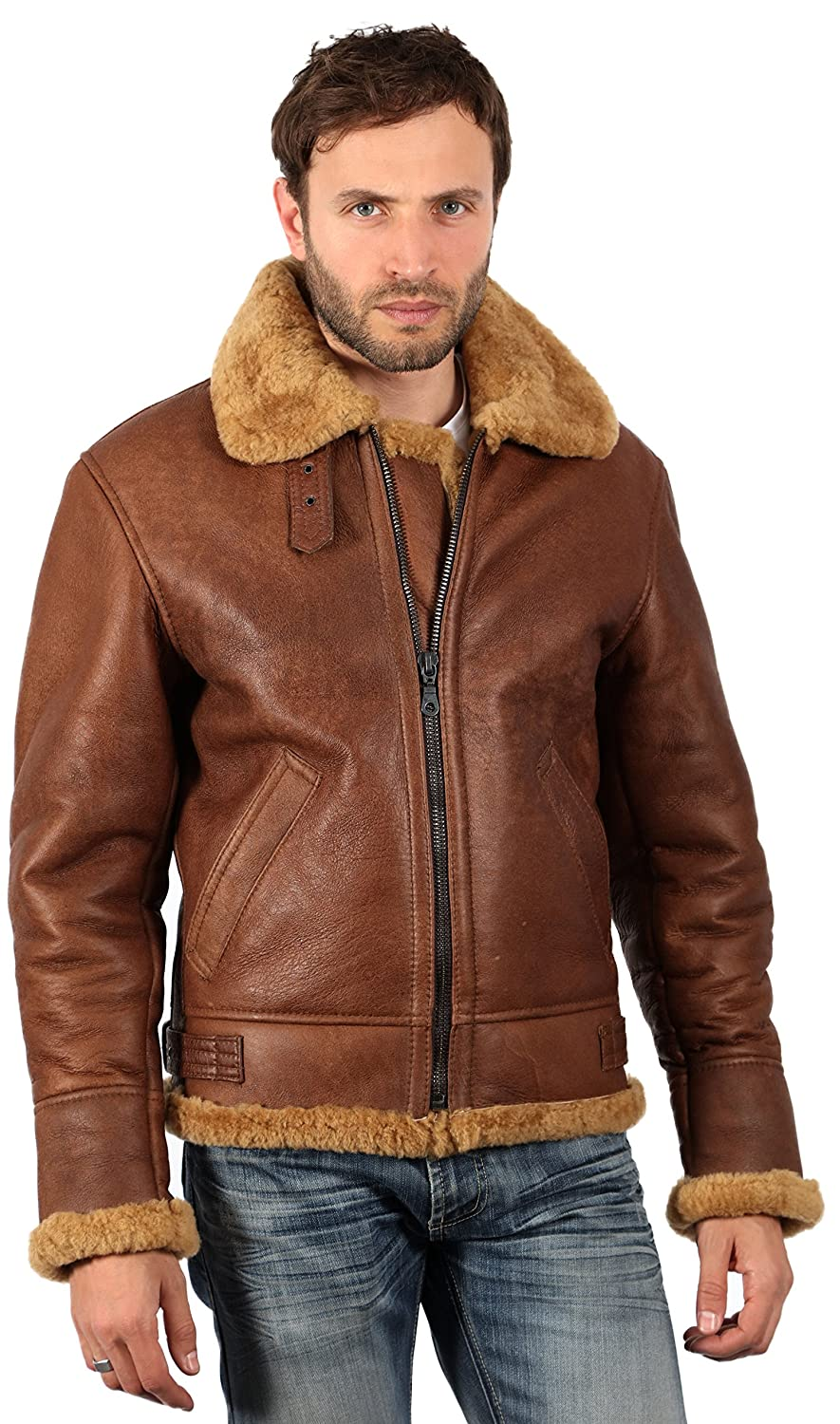 Men's Vintage Style Coats and Jackets Mens Brown B3 Aviator Sheepskin WW2 Bomber Leather Pilot Jacket £289.99 AT vintagedancer.com