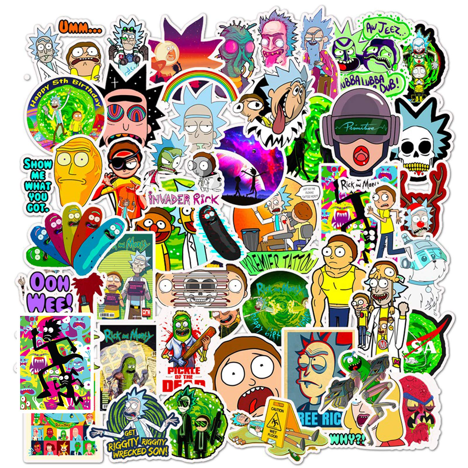 Anime Cartoon Stickers for Hydro Flask, | 50 PCS | Vinyl Waterproof Stickers for Laptop,Skateboard,Water Bottles,Computer,Phone, Cute Anime Stickers (Anime-50)