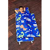 Everyday Kids Toddler Nap Mat with Removable Pillow - Roarin' Dinos - Carry Handle with Straps Closure, Rollup Design, Soft M