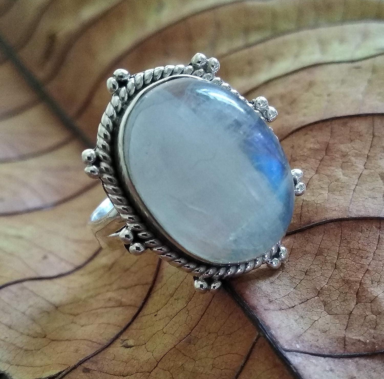 925 Sterling Silver Ladies Ring SR021 Rainbow Moonstone