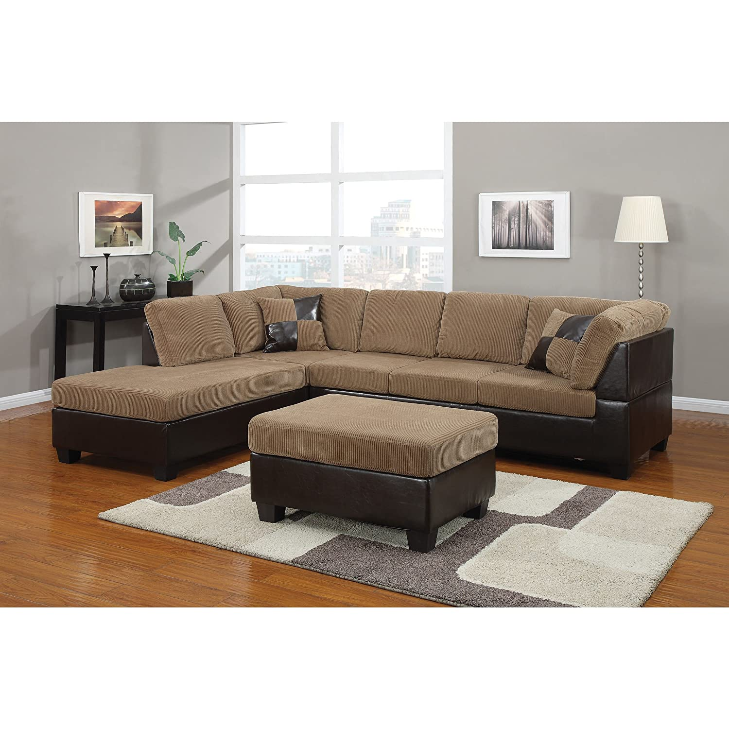 Amazon ACME Connell Sectional Sofa with Pillows