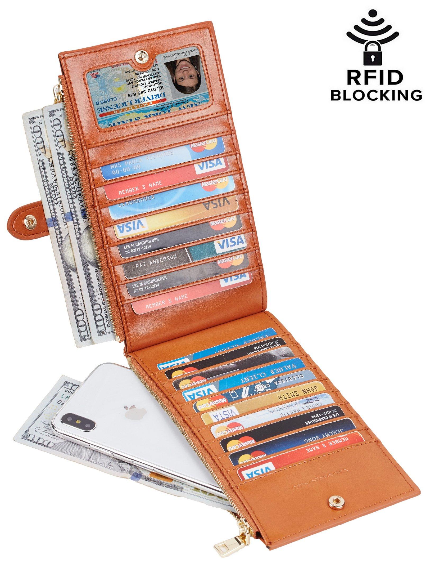 Chelmon Womens Genuine Leather Wallet RFID Blocking Credit Card Holder Zipper Purse(victoria tan)