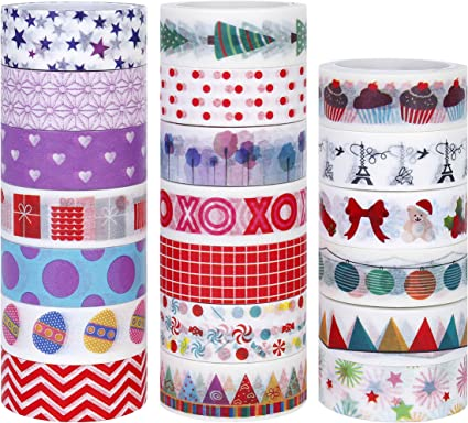 Masking Scrapbooking Tape for DIY Crafts Book Cards Designs Gift-Wrapping Bullet Journal,Planner,Album 20 Rolls Washi Craft Tape Great for Festivals and Party Glitter Decor Tape Sticker