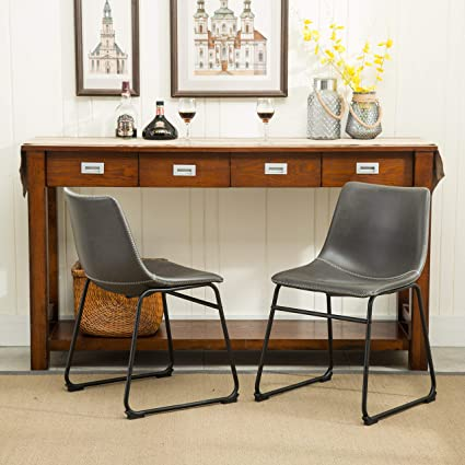 Antique Dining Chairs >> Amazon Com Roundhill Furniture C185gy Lotusville Vintage Pu