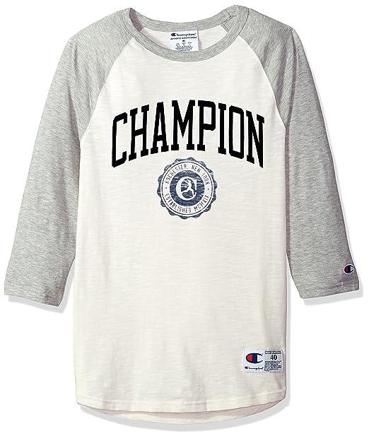 Champion - Camiseta de béisbol para Hombre Collegiate White Alabaster/Oxford Grey XXL: Amazon.es: Ropa y accesorios