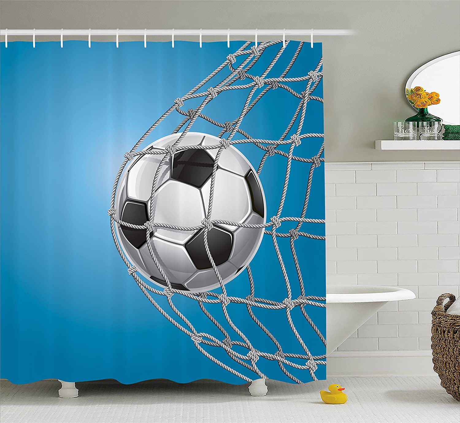 Ambesonne Soccer Shower Curtain Goal Football In Net Entertainment Playing For Winning Active Lifestyle Fabric Bathroom Decor Set With Hooks 70 Inches