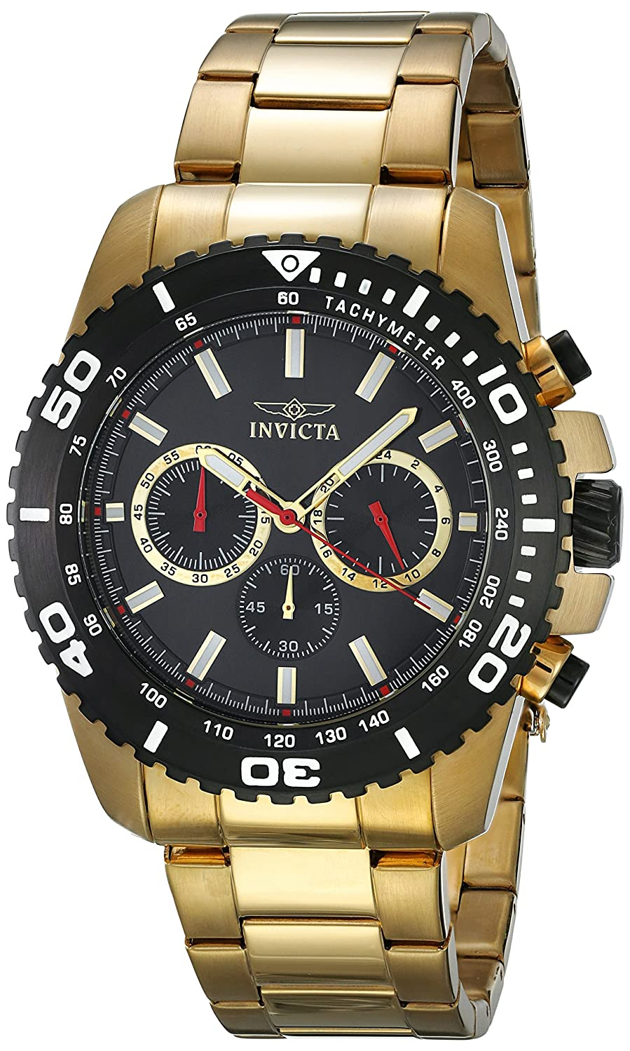 Invicta Men s Pro Diver Quartz Watch with Stainless-Steel Strap, Gold, 24 Model 19846