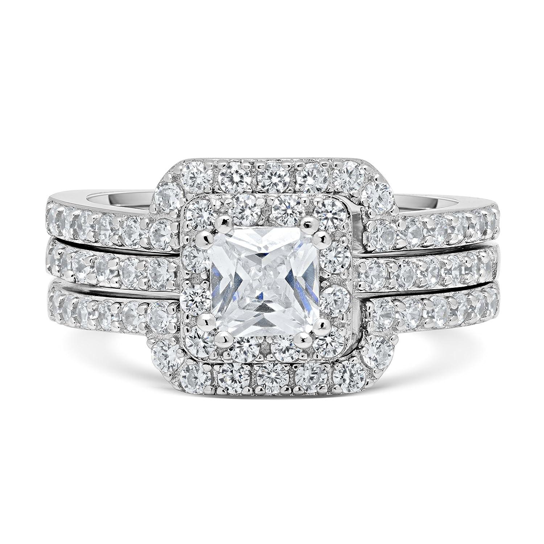 Amazon.com: DTLA Princess Cut Center Stone CZ Sterling Silver ...
