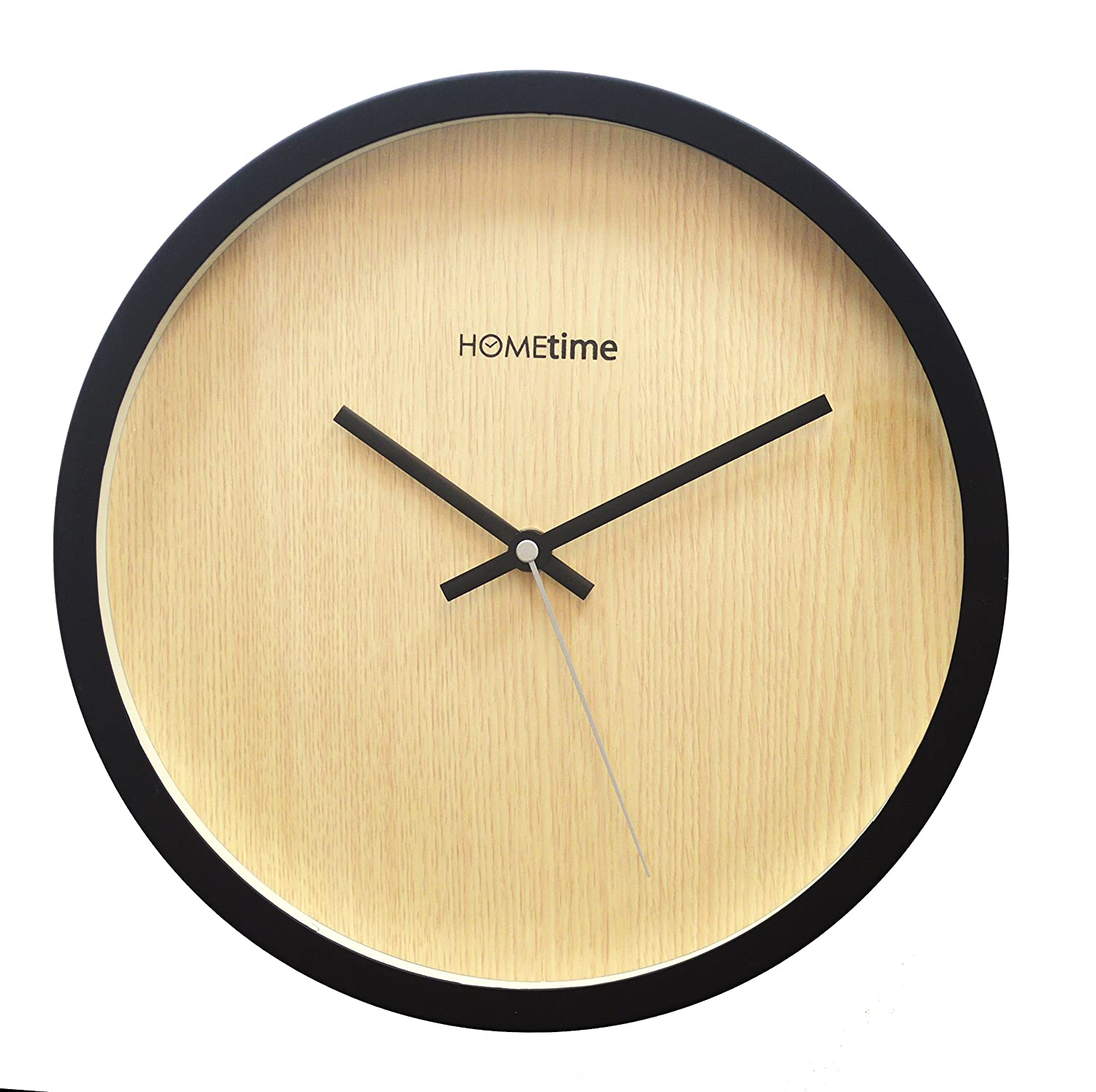 hometime modern wall clock ideal for living room light oak dial 30cm ebay. Black Bedroom Furniture Sets. Home Design Ideas
