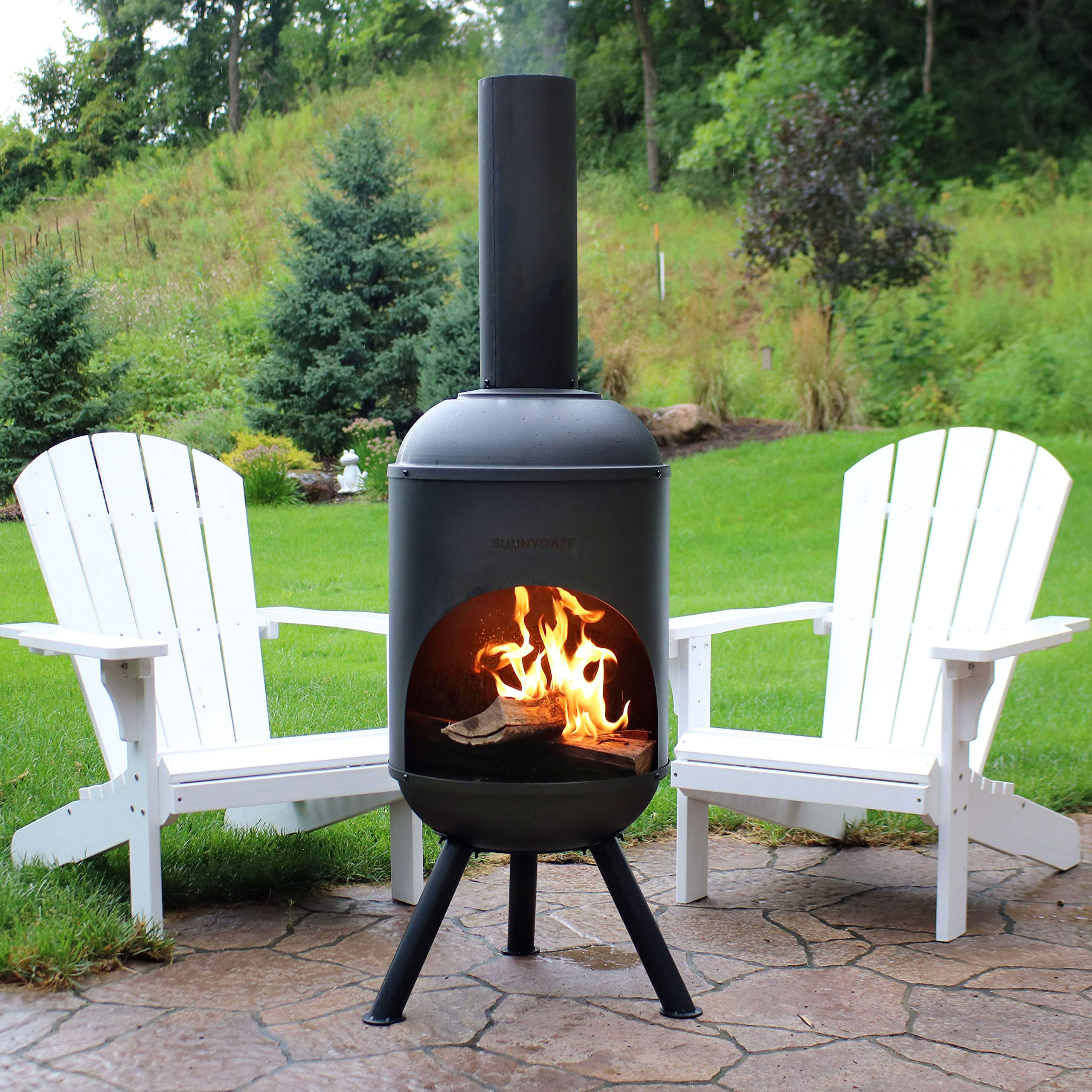 Sunnydaze Modern Chiminea - Steel Outdoor Wood-Burning ... on Outdoor Fireplace Pit id=78490