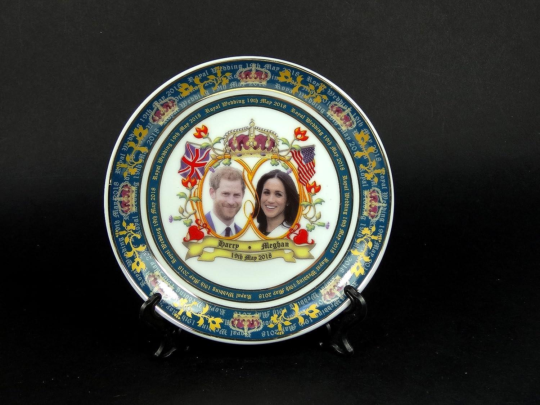 Large 20 cm Plates Royal Wedding Decorative Porcelain Detailing H R H Prince Henry of Wales and Meghan Markle Harry