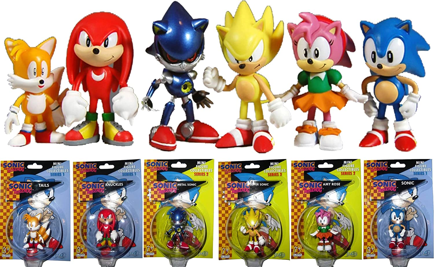 "SONIC KNUCKLES SONIC MULTI PACK 2/"" ACTION FIGURE 6 CLASSIC FIGURES FOR KIDS"