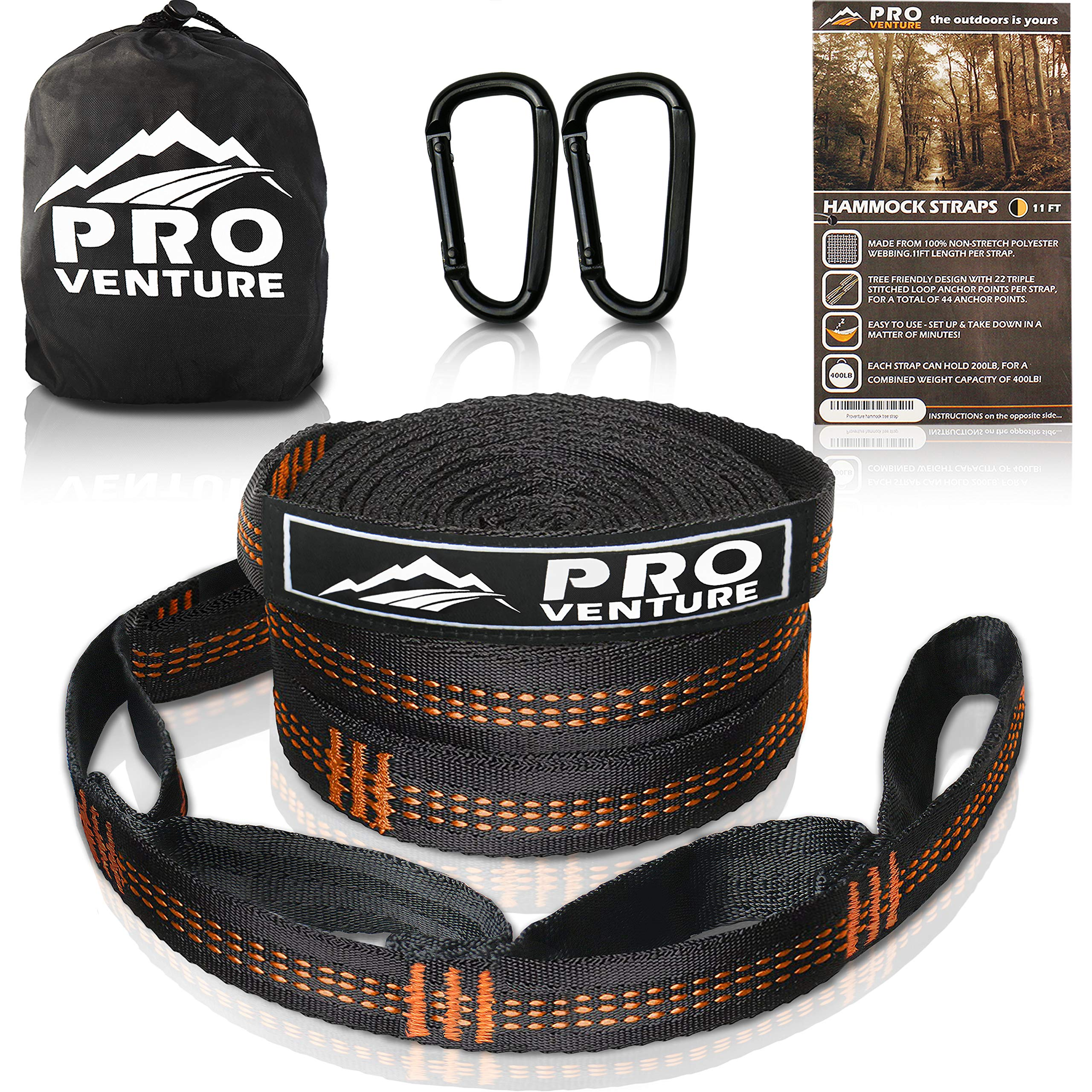 Pro Hammock Tree Straps with CARABINERS - 11 Feet, Adjustable 44 Loops, 400LB Rated (1200LB Tested), Easy Set up, Heavy Duty But Lightweight. by Pro Venture