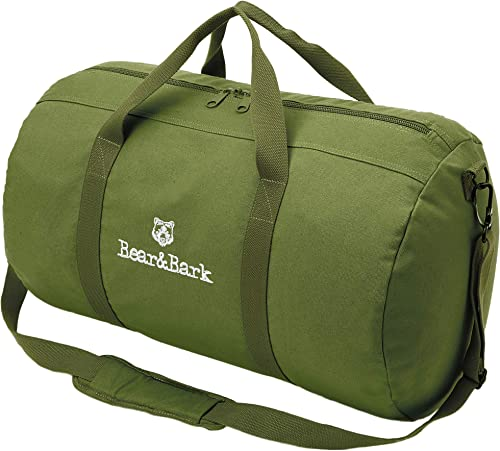 Travel Duffle Bag – Green 24 x14 – 60.5L – Canvas Military and Army Cargo Style Carryall Duffel Tote for Men and Women Carry On, Gym, Hiking and Storage Shoulder Bag