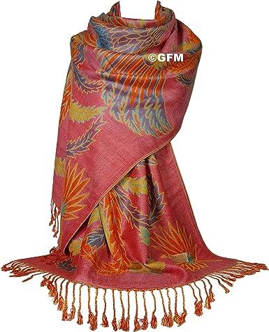 GFM /Écharpe de style pashmina de fleurs en mosa/ïque. 5FLR