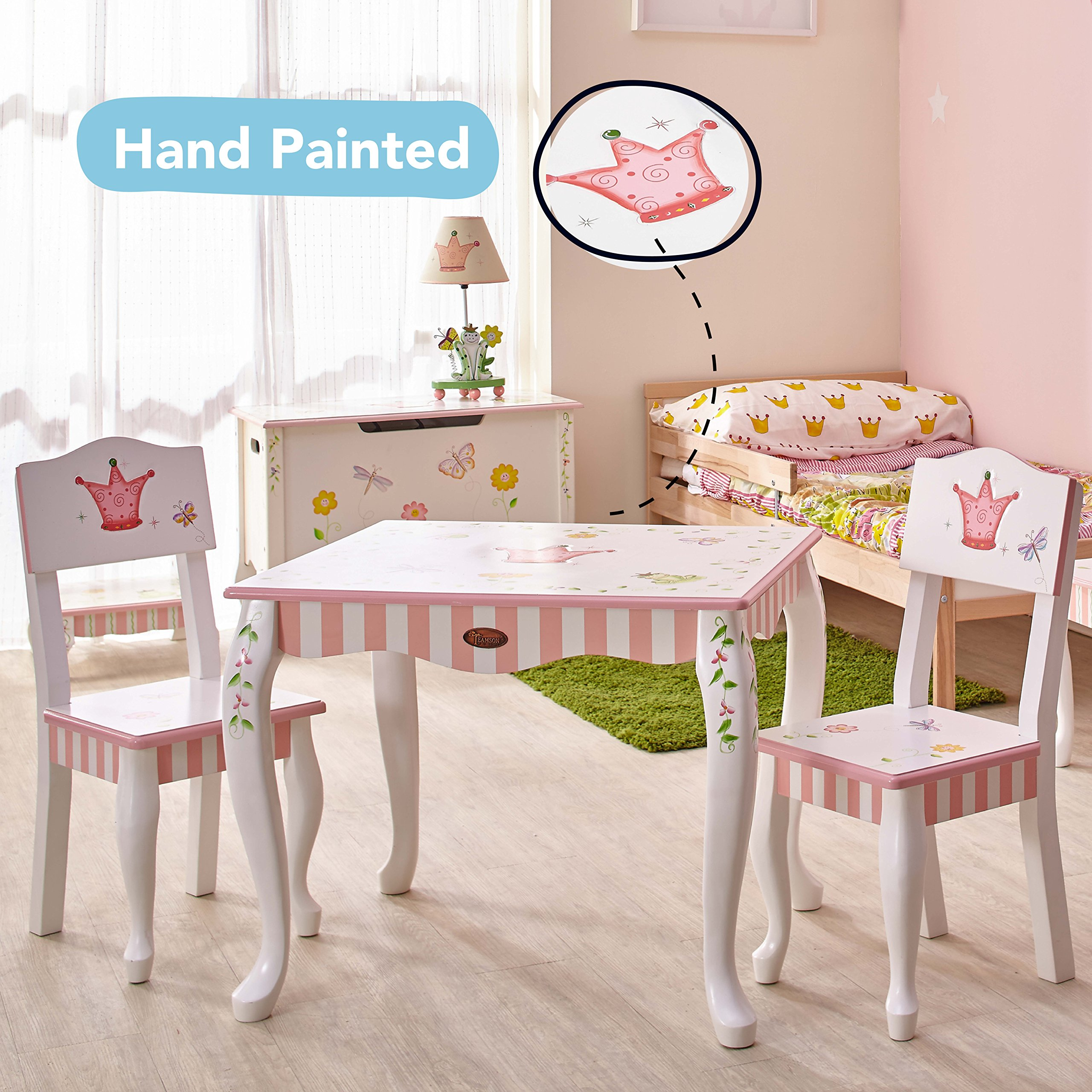 Fantasy Fields - Princess & Frog Thematic Hand Crafted Kids Wooden Table and 2 Chairs Set  Imagination Inspiring Hand Crafted & Hand Painted Details   Non-Toxic, Lead Free Water-based Paint by Fantasy Fields (Image #2)