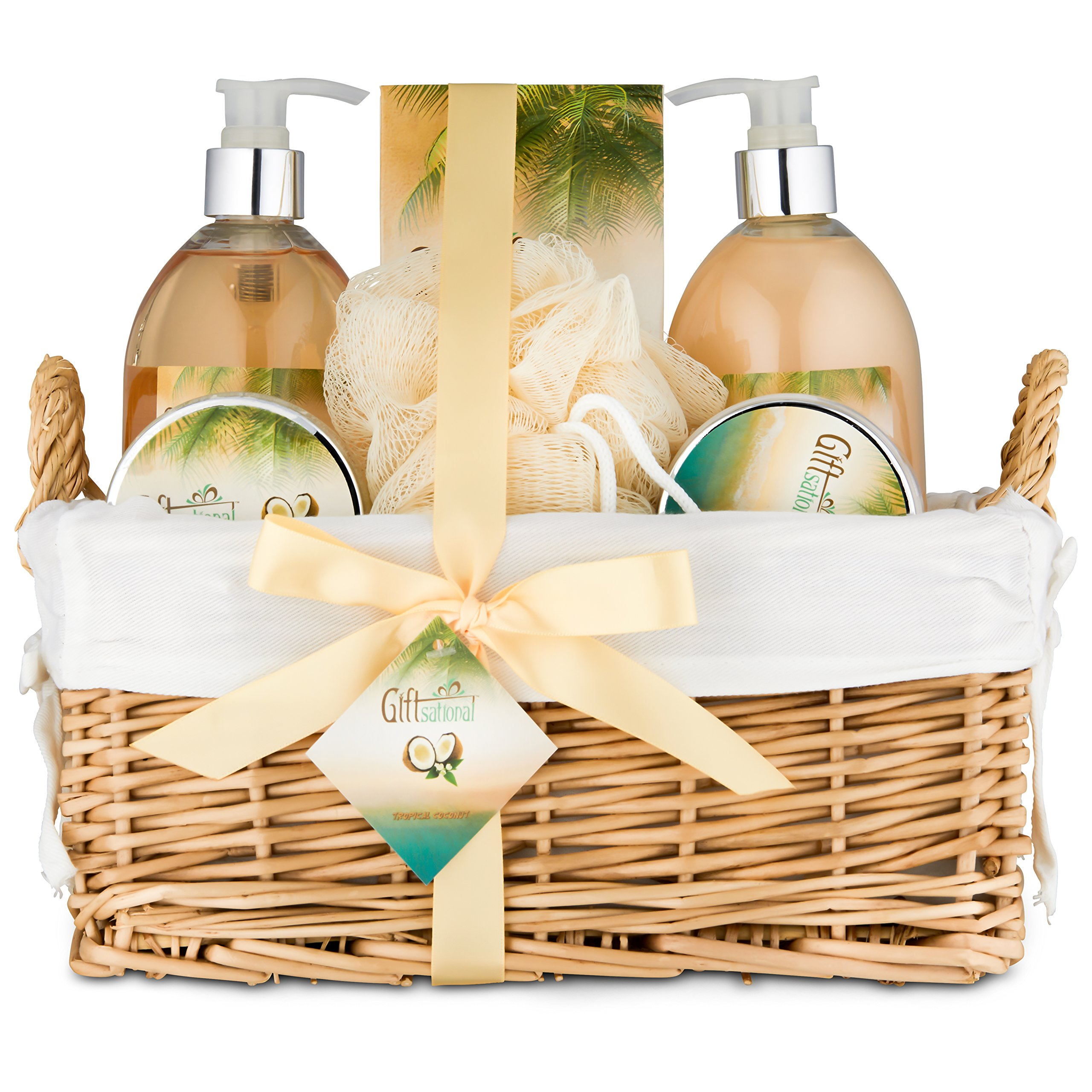 Spa Gift Basket for Women With Tropical Coconut Fragrance in Large Willow Basket | Includes Bubble Bath, Shower Gel, Body Scrub, Body Lotion, Bath Salts | Great Birthday, Anniversary or Wedding Gift