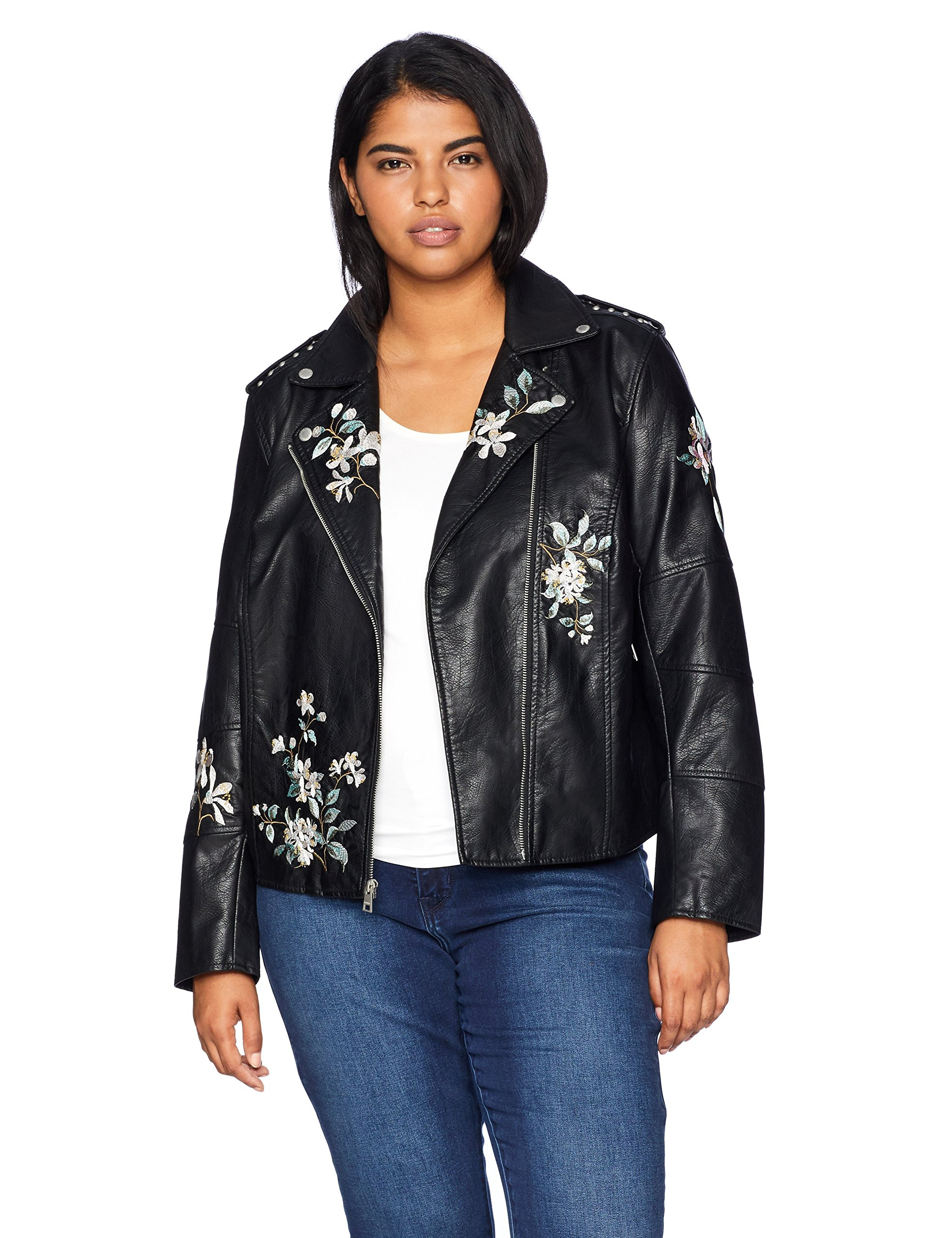 Levi's Women's Plus Size Faux Leather Embroidered Motorcyle Jacket, Black, 3X