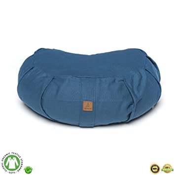 Buckwheat Hull Filled Yoga Meditation Cushion | Certified Organic Cotton | Removable Washable Cover | Carrying Handle | Choose Your Style and Color of ...