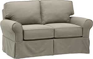 "Amazon Brand – Stone & Beam Carrigan Modern Loveseat Sofa Couch with Slipcover, 68""W, Grey Taupe"