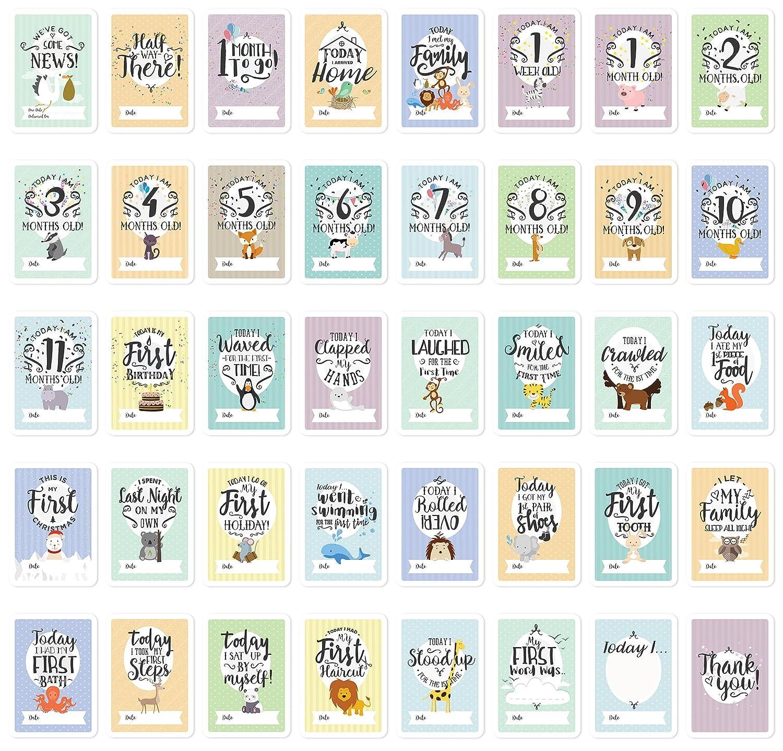 /40/mixte Landmark Instant Photo Cartes Y Compris de grossesse et cl/é minimum Markers B/éb/é Milestone Cartes et bo/îte souvenir/ Parfait Cadeau de Baby Shower Lot avec Original Pastel color/é Designs par