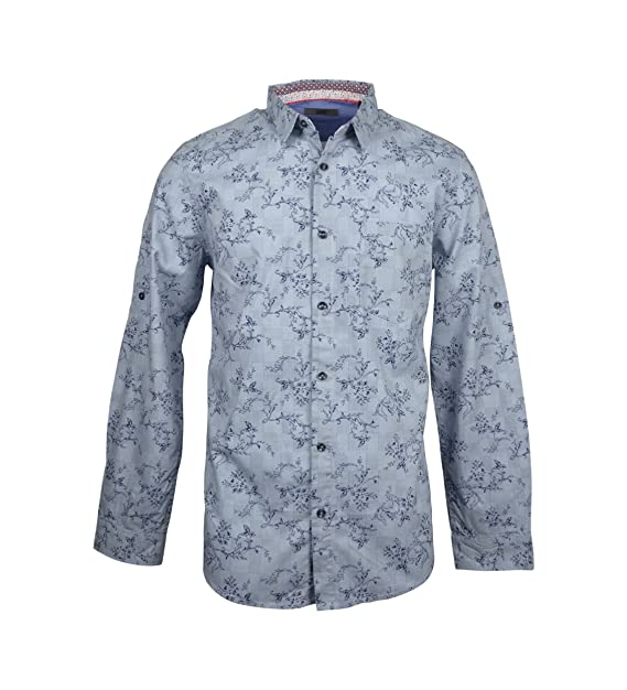 14d319e72809 LADRFT Men's Shirt With Floral Print and Roll UP Sleeve (Large ...