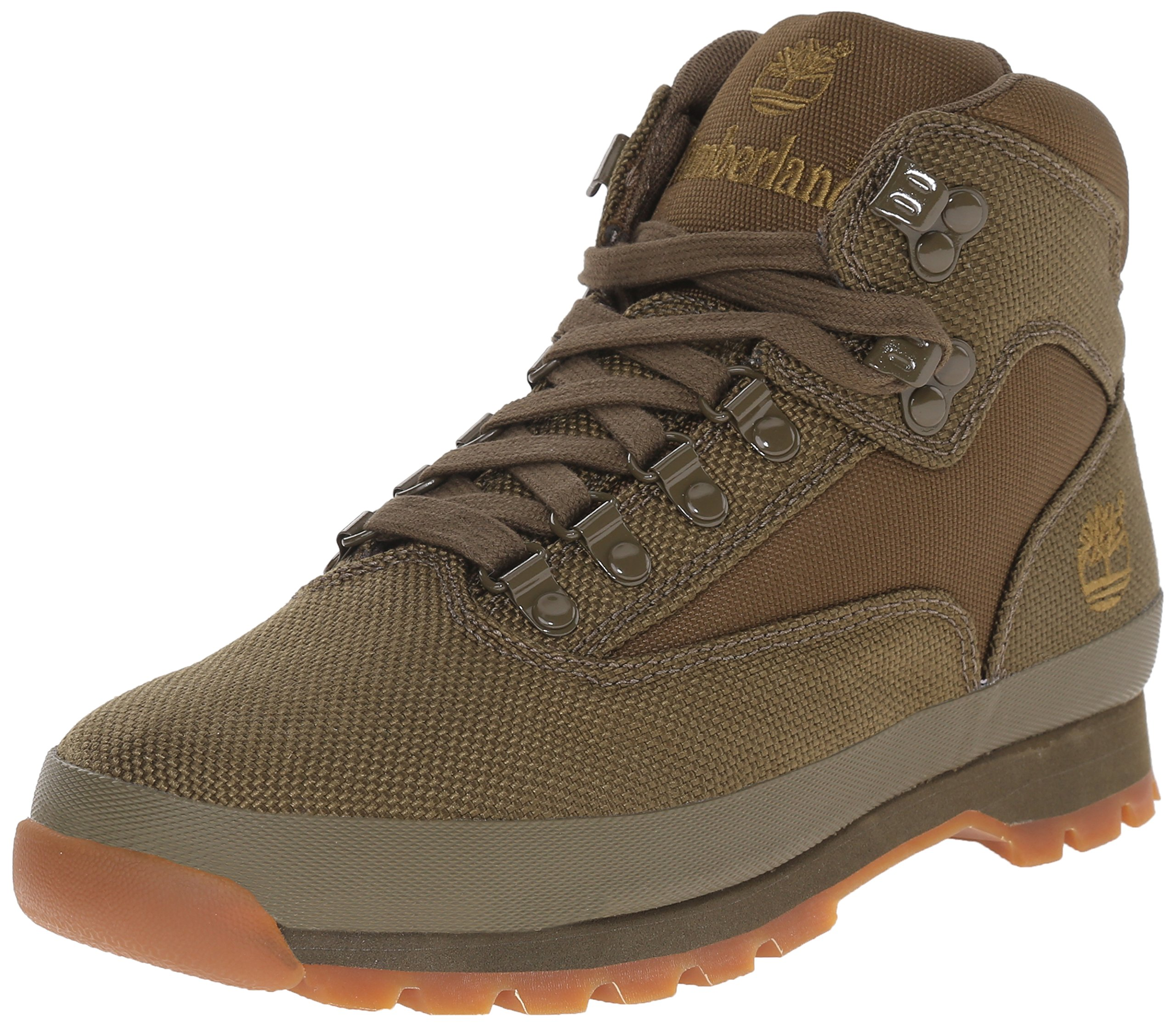 Timberland Men's Euro Hiker Mid Fabric Fashion Sneaker, Olive, 8.5 M US
