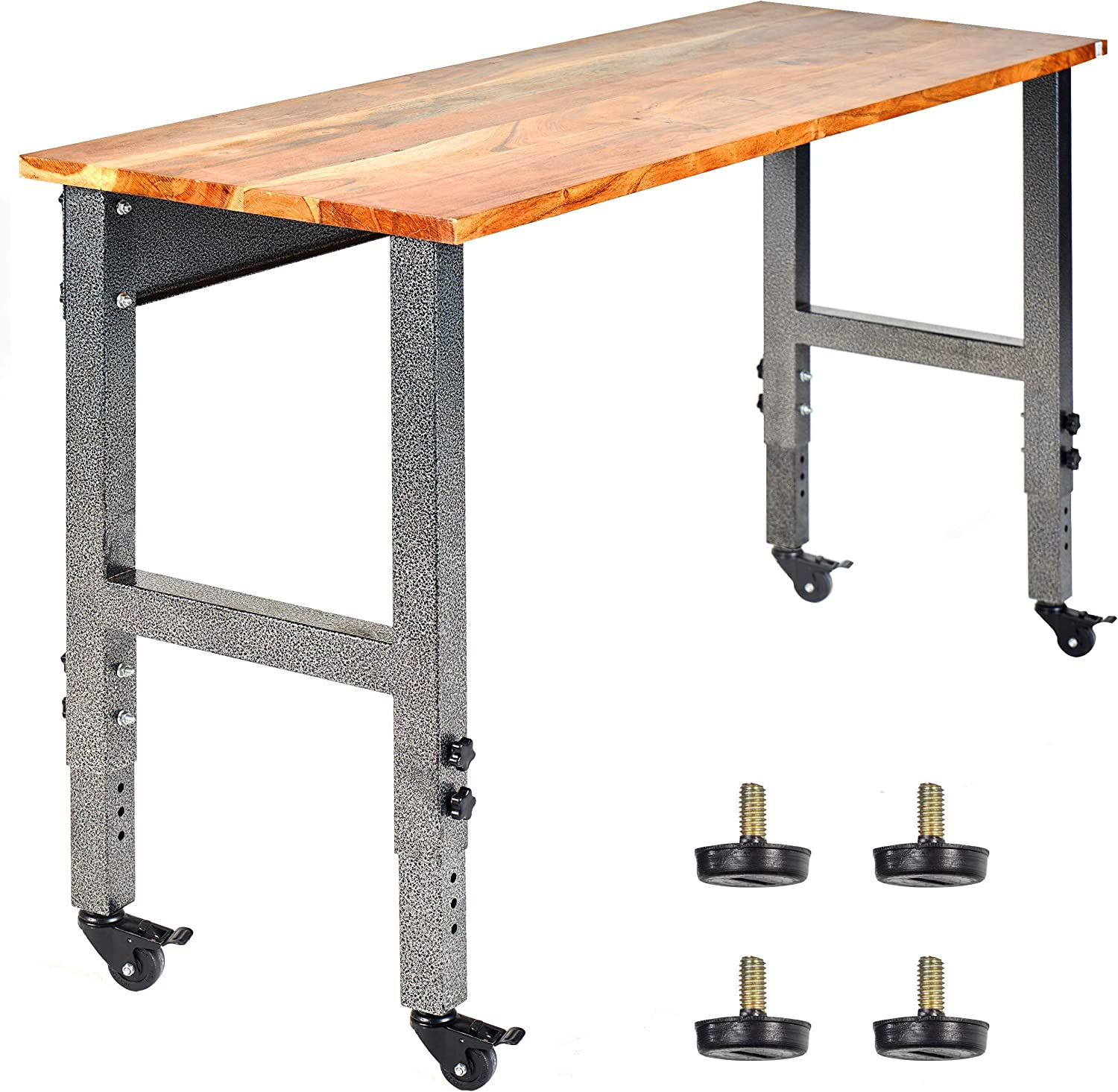 Mobile Garage Workbench W Casters 48 Acacia Hardwood Top Adjustable Height Legs Great Office Workshop Tool Bench Home Improvement